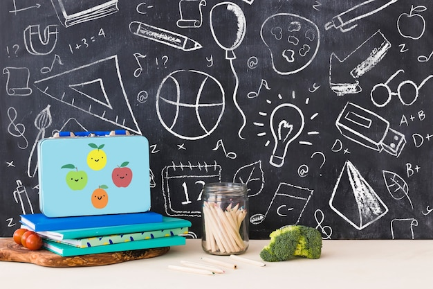 Back to school mockup with chalk on blackboard