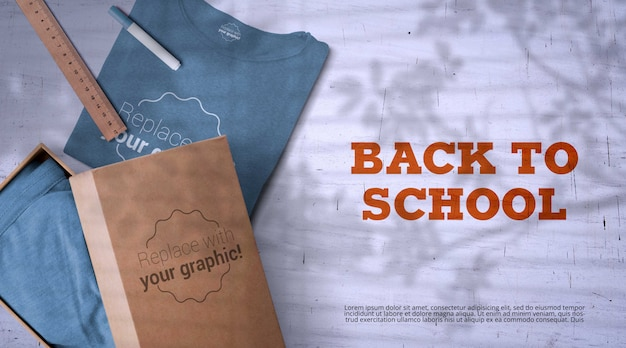 Back to school mockup with merchandise