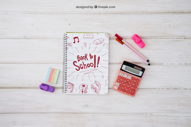 Back to school mockup with notebook and calculator