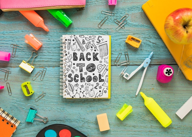 Back to school mockup with notebook cover