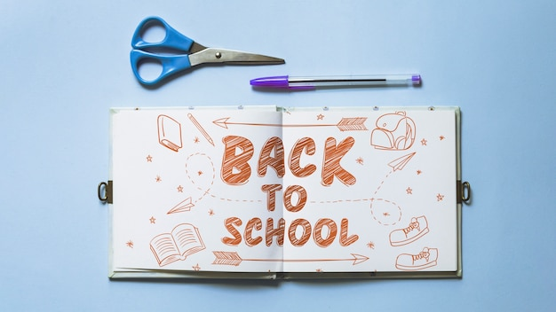 Back to school mockup with open book