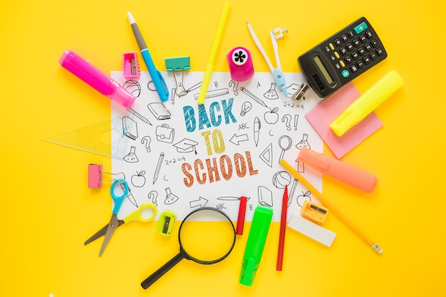 Back to school mockup with paper and elements