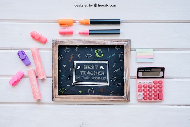 Back to school mockup with slate and chalk