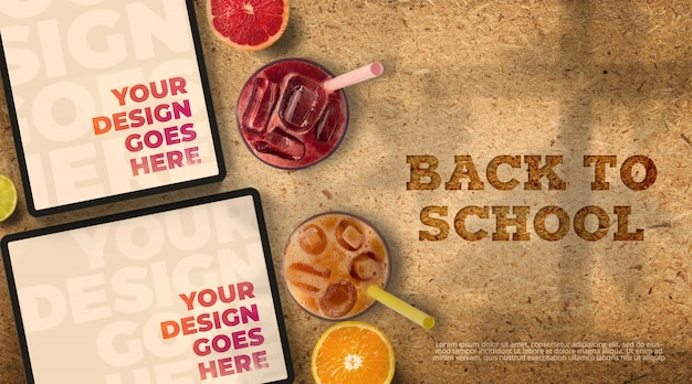 Back to school mockup with tablets and juices