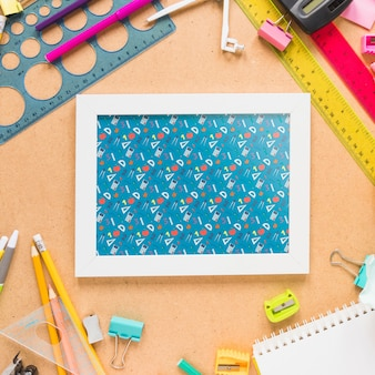 Back to school mockup with white frame