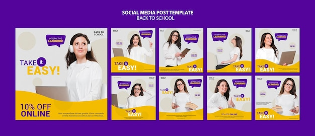 Back to school online instagram posts template
