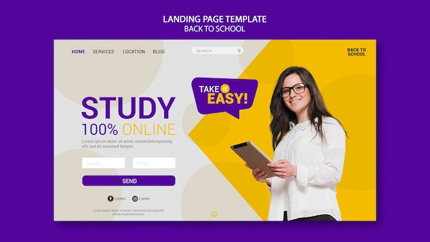 Back to school online landing page Premium Psd