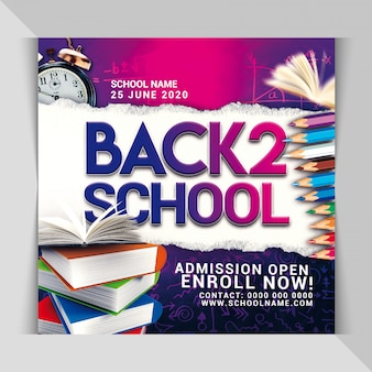 Back to school party banner template