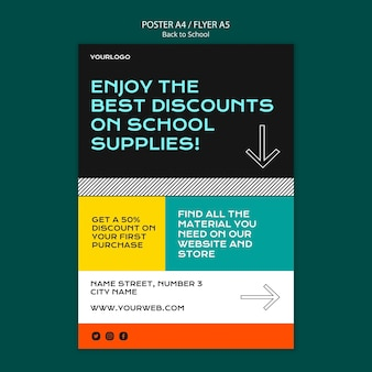 Back to school poster template theme