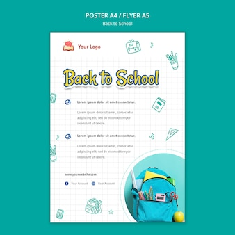 Back to school poster template Free Psd