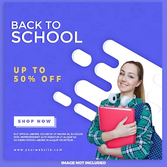 Back to school sale banner for digital marketing