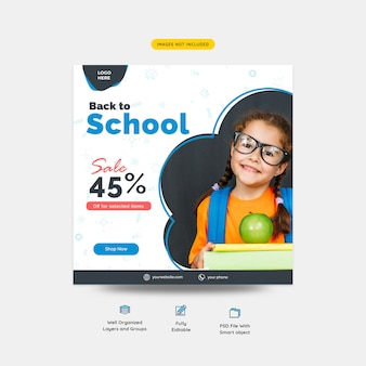 Back to school sale offer social media post template
