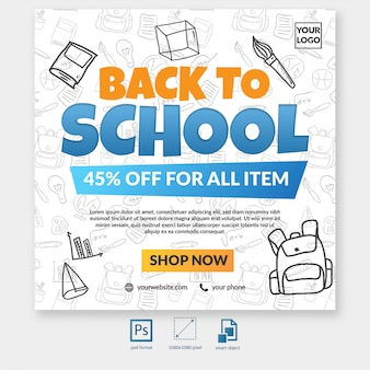 Back to school sale special offer with element social media post template