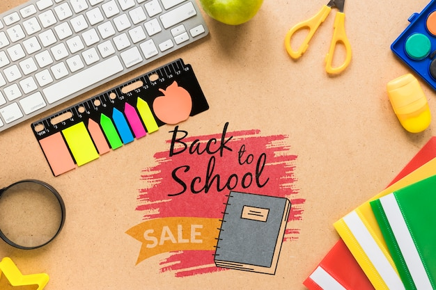 Back to school sale with sticky notes