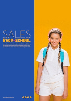 Back to school sales poster with teenager girl