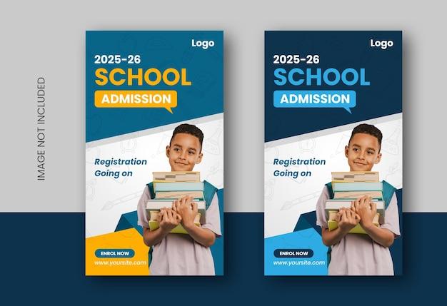 Back to school or school admission educational social media instagram stories design