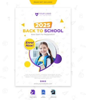 Back to school season poster template
