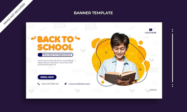 Back to school simple horizontal web banner or social media post template