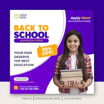Back to school social media admission banner template