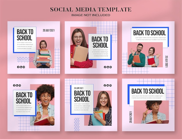 Back to school social media banner and instagram post template with retro aesthetic computer style