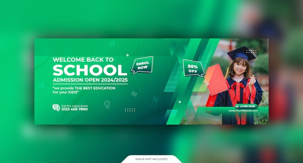 Back to school social media cover  and web banner template