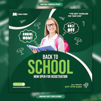 Back to school social media and instagram post template