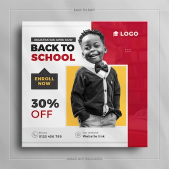 Back to school social media post or admission on square banner template