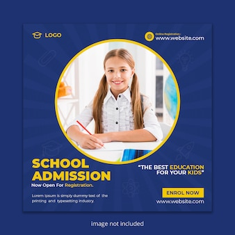 Back to school social media post banner or square flyer template