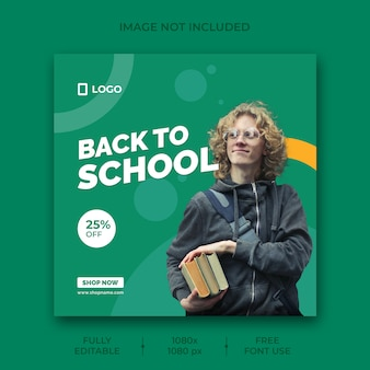 Back to school social media post banner template
