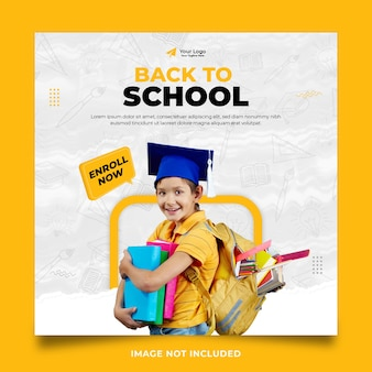 Back to school social media post template design with yellow color theme