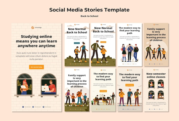 Back to school social media stories template Free Psd