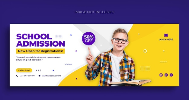 Back to school social media web banner flyer and facebook cover photo design template