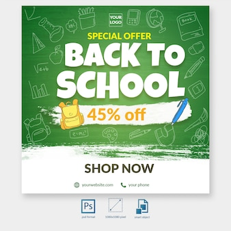 Back to school special discount offer social media post template