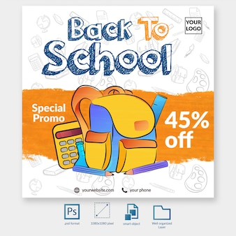 Back to school special promo social media post template