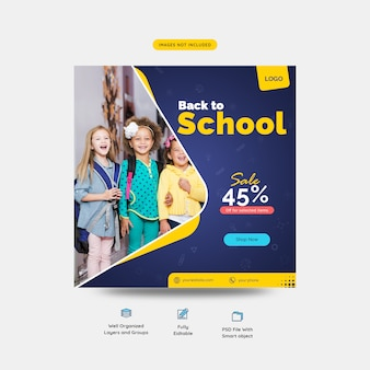 Back to school special sale offer for students social media post template