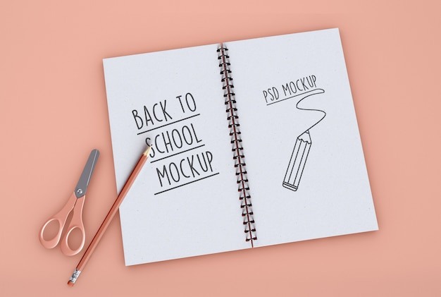 Back to school on spiral notebook mockup