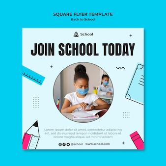 Back to school square flyer template with child wearing face mask