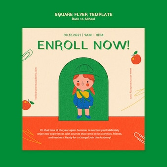 Back to school square flyer template