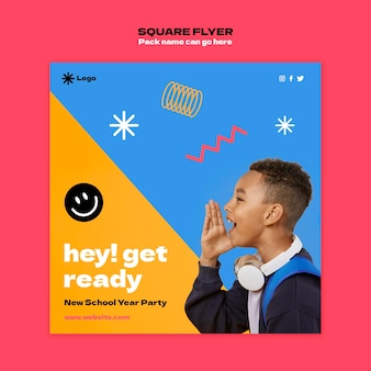 Back to school square flyer