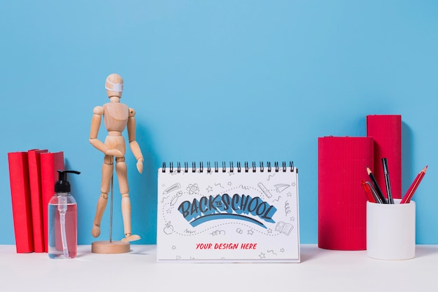 Back to school supplies with mock-up