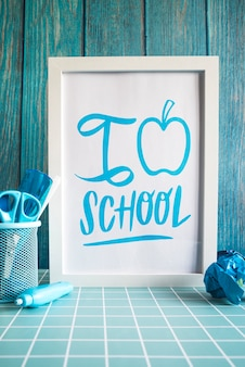 Back to school supplies with white frame