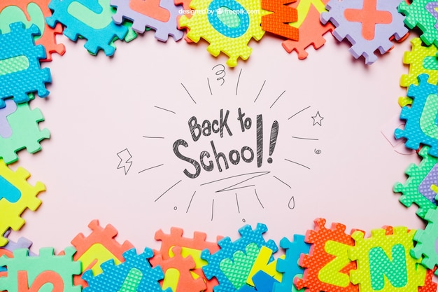 Back to school template with jigsaw