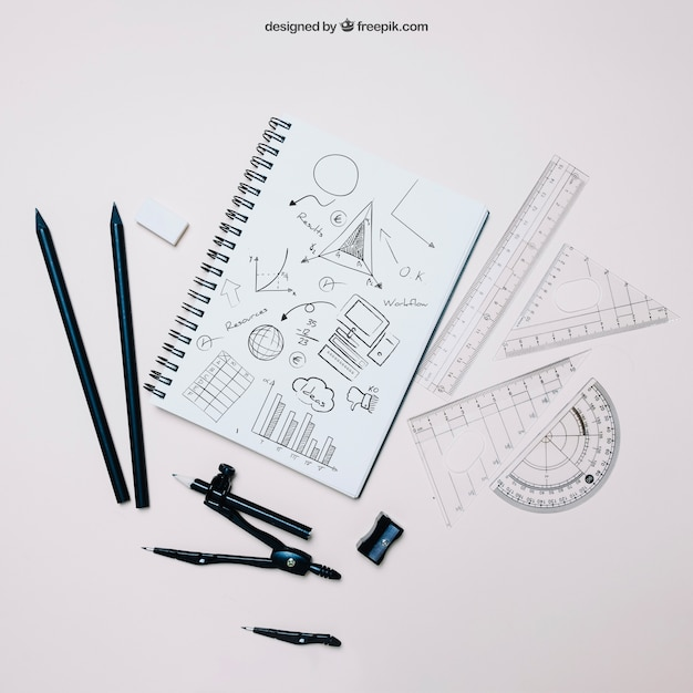 Back to school template with notebook and set squares Free Psd