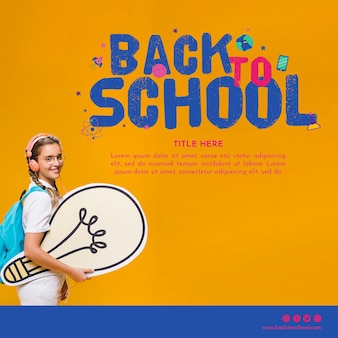 Back to school template with smiling teenager girl