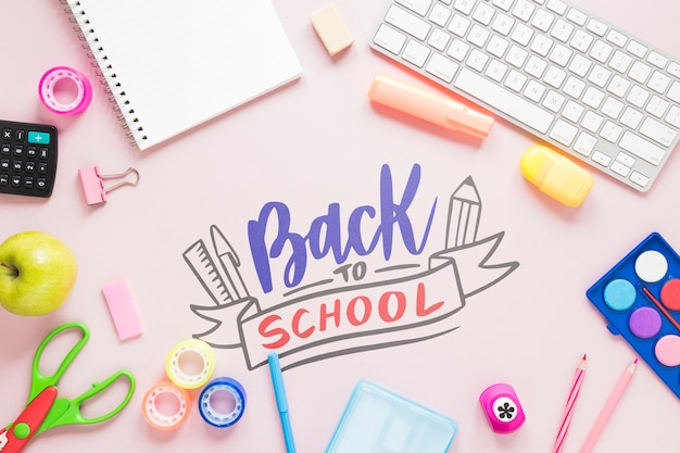 Back to school trends on pink background