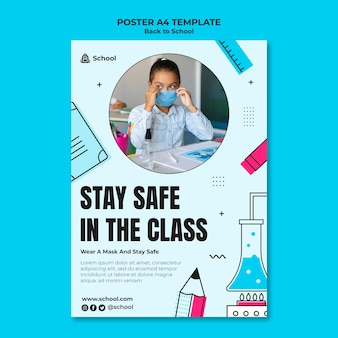 Back to school vertical poster template with child wearing face mask