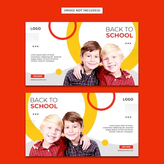 Back to school web banner template psd