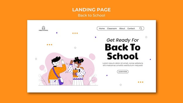 Back to school web template Free Psd