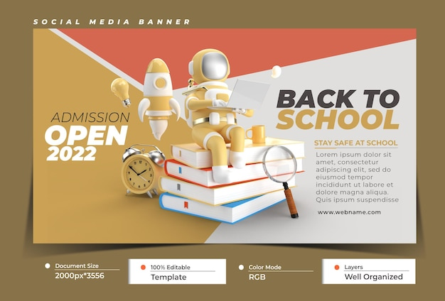 Back to school with astronaut working on laptop digital marketin