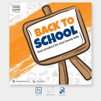 Back to school with blackboard element social media post template